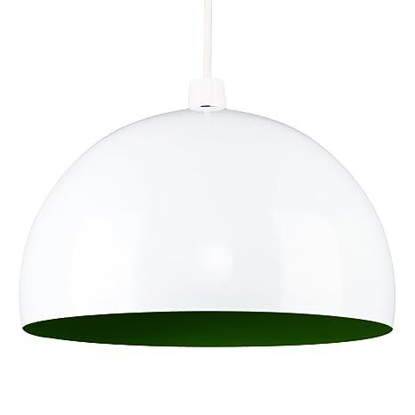 MiniSun - Moderna pantalla de lámpara de techo del afamado estilo Arco, de metal, en blanco y verde brillante en forma de globo