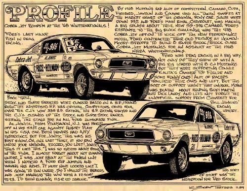 (1968 Factory 428 Cobra jet Mustangs Art Print)