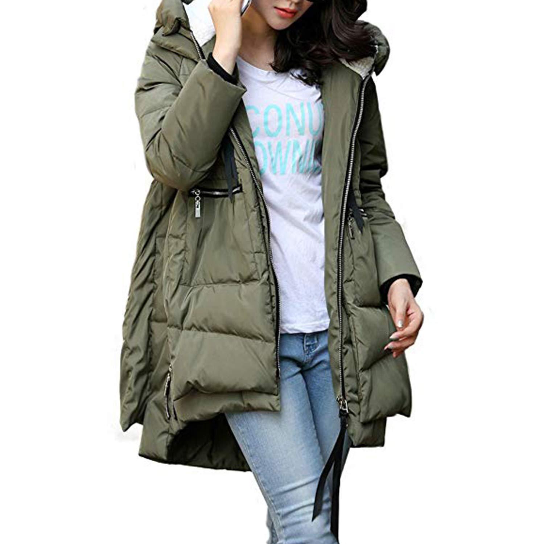c39894aa6aea2 Petalum Women s Thickened Down Jackets with Hood Long Down Coats Winter  Warm Hooded Parka Coat  Amazon.co.uk  Clothing