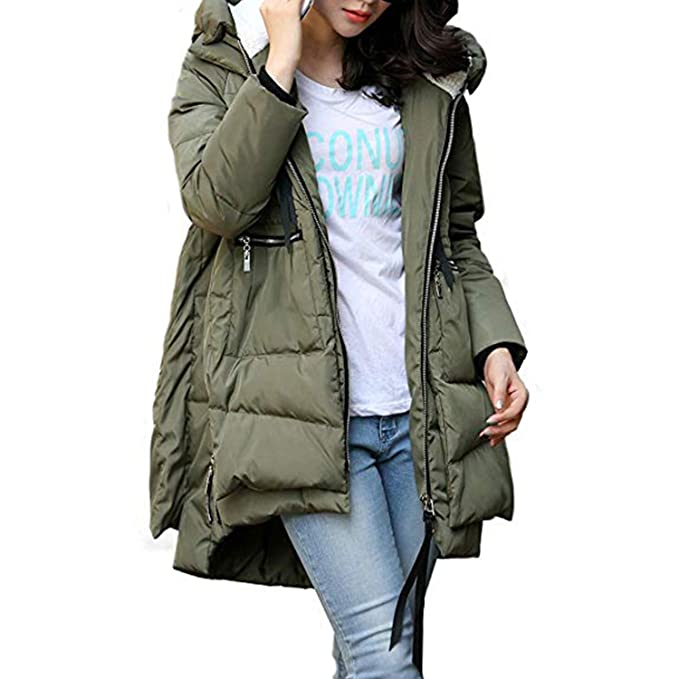 cfb56a107a8 Petalum Women s Thickened Down Jackets with Hood Long Down Coats Winter  Warm Hooded Parka Coat (