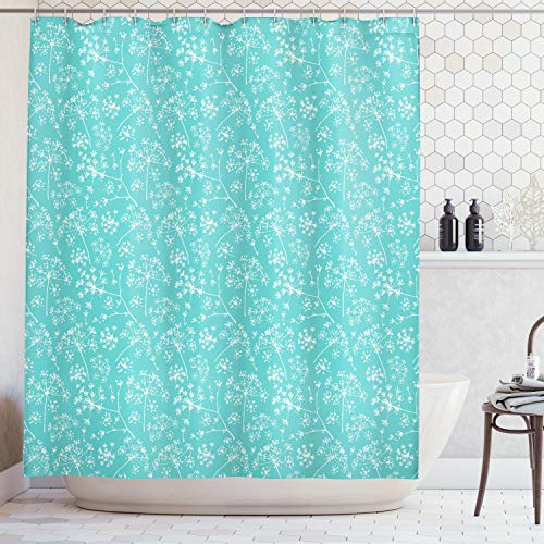 (Ambesonne Turquoise Decor Collection, Delicate Umbrellas Parsley Dill Blossom Wildflower Summertime Plants Pattern, Polyester Fabric Bathroom Shower Curtain Set with Hooks, Tiffany Blue White)