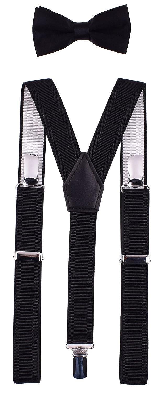 Shark Tooth Boys Mens Adjustable Braces Bow Tie Set Y Shape