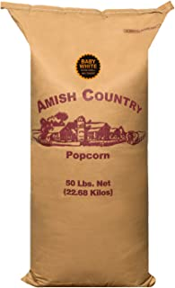 product image for Amish Country Popcorn | 50 lb Bag | Baby White Popcorn Kernels | Old Fashioned with Recipe Guide (Baby White - 50 lb Bag)