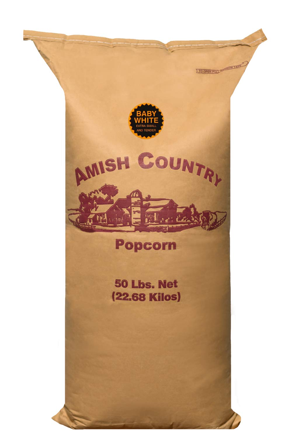 Amish Country Popcorn - 50 Pound Baby White - Small & Tender Popcorn - Perfect for Fundraisers - Non GMO, Gluten Free, Microwaveable, Stovetop and Air Popper Friendly With Recipe Guide by Amish Country Popcorn