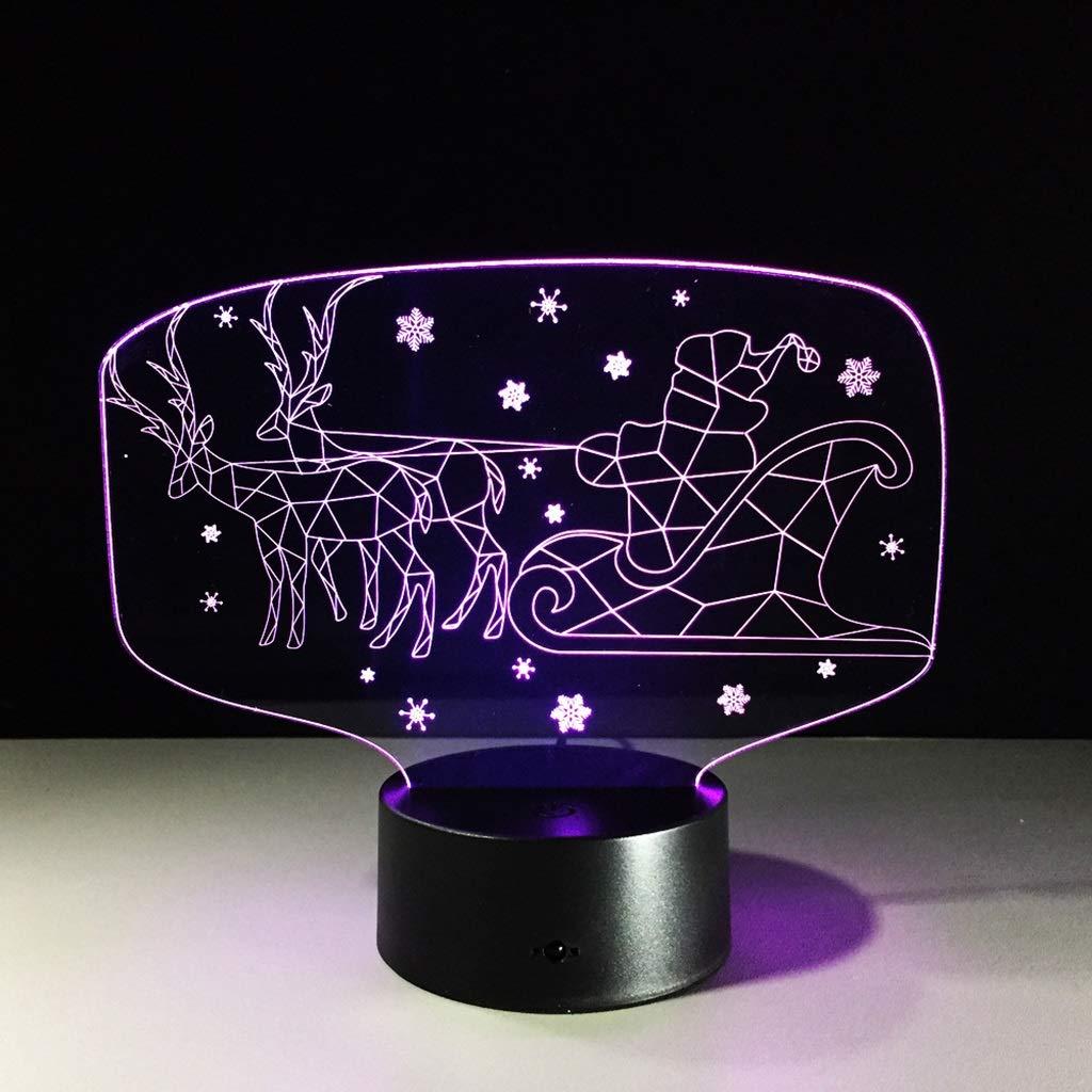 JKL Nachtlicht Illusions Nachtlichter 3D, Weihnachtskutsche LED Tisch Schreibtisch Lampen bunter Notenschalter USB Gebühr dekorative Lampe Kindergeburtstags Festival Geschenke