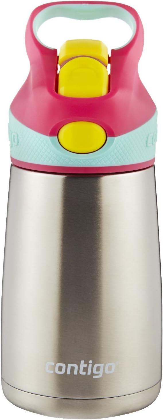 Contigo AUTOSPOUT Straw Striker Chill Stainless Steel Kids Water Bottle, 10 oz, Cherry Blossom