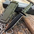 M-TECH TACTICAL G'Store GREEN Survival Army FIXED BLADE Mini Neck KNIFE SHEATH