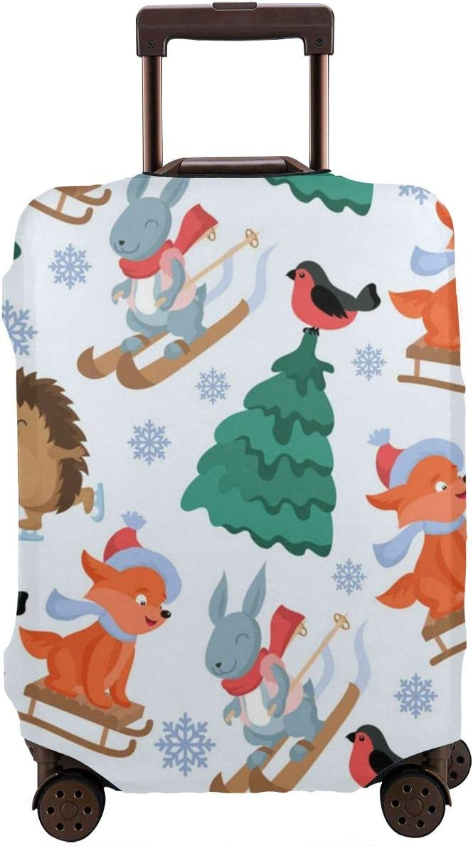 JHNDKJS Christmas Forest Travel Luggage Cover Baggage Suitcase Protector Fit for 12-18 Inch Luggage