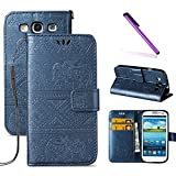3 d phone cases galaxy s3 - Galaxy S3 Case,LEECOCO Fancy 3D Relief Embossed Wallet Case with Card / Cash Slots [Kickstand] Shockproof Premium PU Leather Flip Case Cover for Samsung Galaxy S3 I9300 Elephant Blue