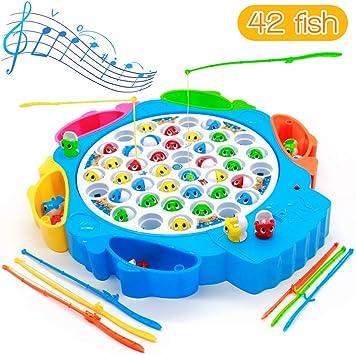 Symiu Juegos de Mesa de Pesca Musical con Caña de Pescar Juegos de Mesa Educativos Juguetes para Niños Niñas 3 4 5 6 Años: Amazon.es: Juguetes y juegos