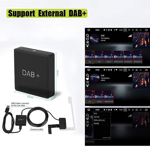 Solo para pa/íses Que Tienen se/ñal Dab Gamogo Dab 004 Caja Dab Sintonizador de Antena de Radio Digital Transmisi/ón de FM con alimentaci/ón USB para Radio de Auto Android 5.1 y Superior