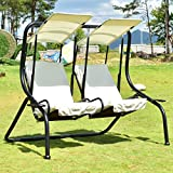 Hammock Outdoor Patio 2 Person Swing Chair Porch Padded Loveseat W/Canopy Beige-Cretamarket