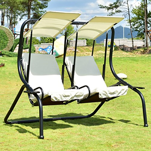 Hammock Outdoor Patio 2 Person Swing Chair Porch Padded Loveseat W/Canopy Beige-Cretamarket by Cretamarket