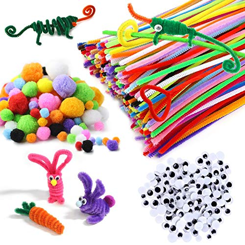 520 Pcs Colored Pipe Cleaners Set - for DIY Art Craft Decorations,Party and Holiday Decoration - 320 Pcs 32 Colors Craft Chenille Stems|100 Pcs 5 Size Wiggle Googly Eyes|100 Pcs Multi Sized Pompoms ()