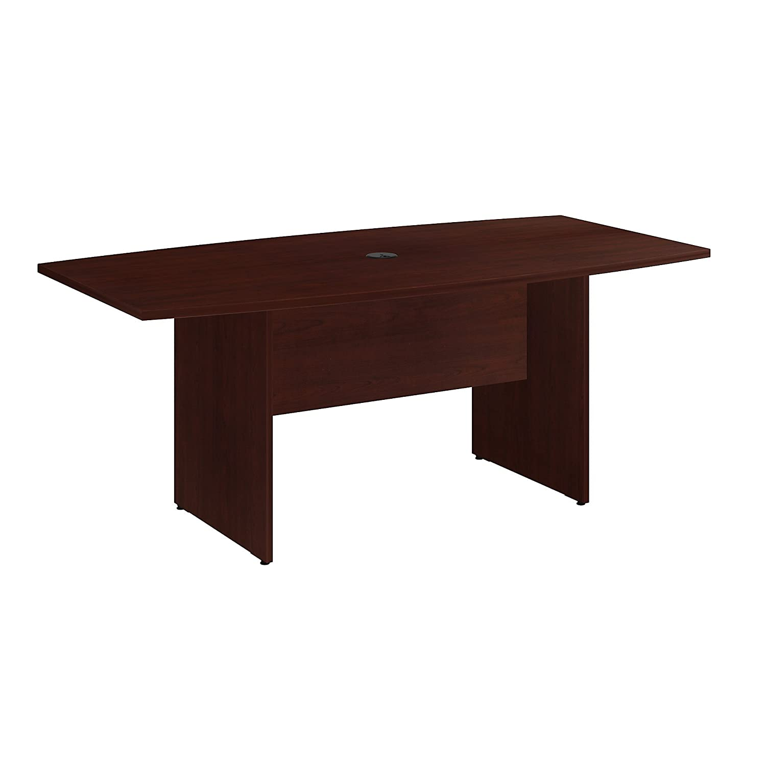 Bush Business Furniture 72W x 36D Boat Shaped Conference Table with Wood Base in Natural Maple