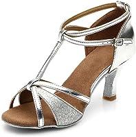 HIPPOSEUS Zapatos de Baile Latino con Brillo para Mujer Sandalias de Baile de Salsa para Fiestas de salón de Baile