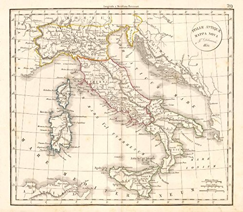 'Italiae Antiquae Mappa Nova' by Felix Delamarche. Ancient Italy - 1832 - old map - antique map - vintage map - printed maps of Italy