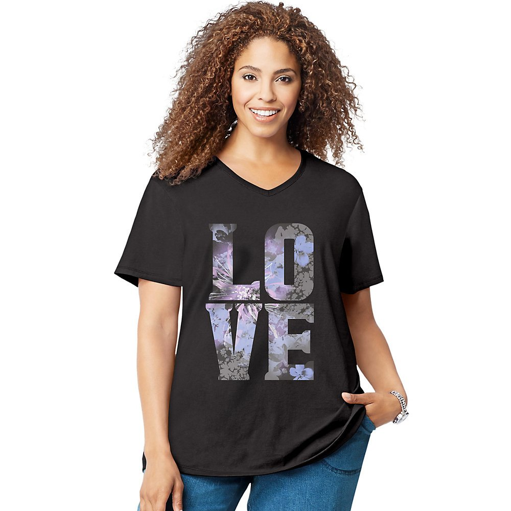 Just My Size Womens Short Sleeve Graphic Tee, 2X, Love Black J M S GTJ181 Y05546