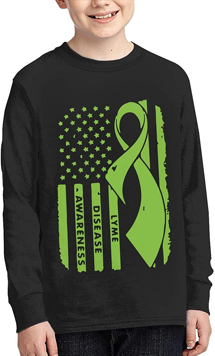 Teenagers Teen Girl Lyme Disease Awareness Printed Long Sleeve 100/% Cotton Tops