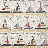 Boston International 20 Count 3-Ply Paper Lunch Napkins, Ahoy Stripe