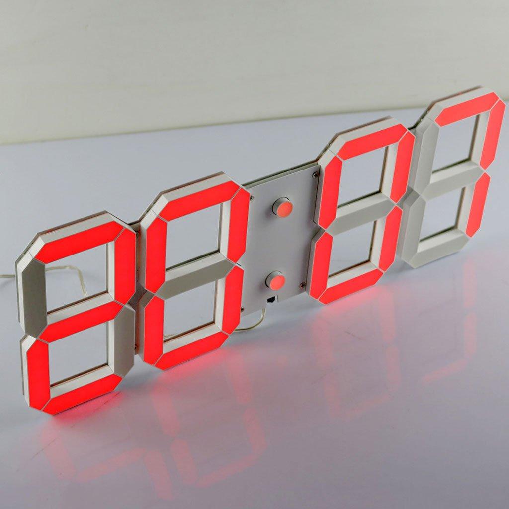 デジタル3次元クロッククリエイティブ大きな壁時計ゲーム時計ファッションウォールクロック会社固有のLED (Color : Red) B07D5Q19Y8 Red Red