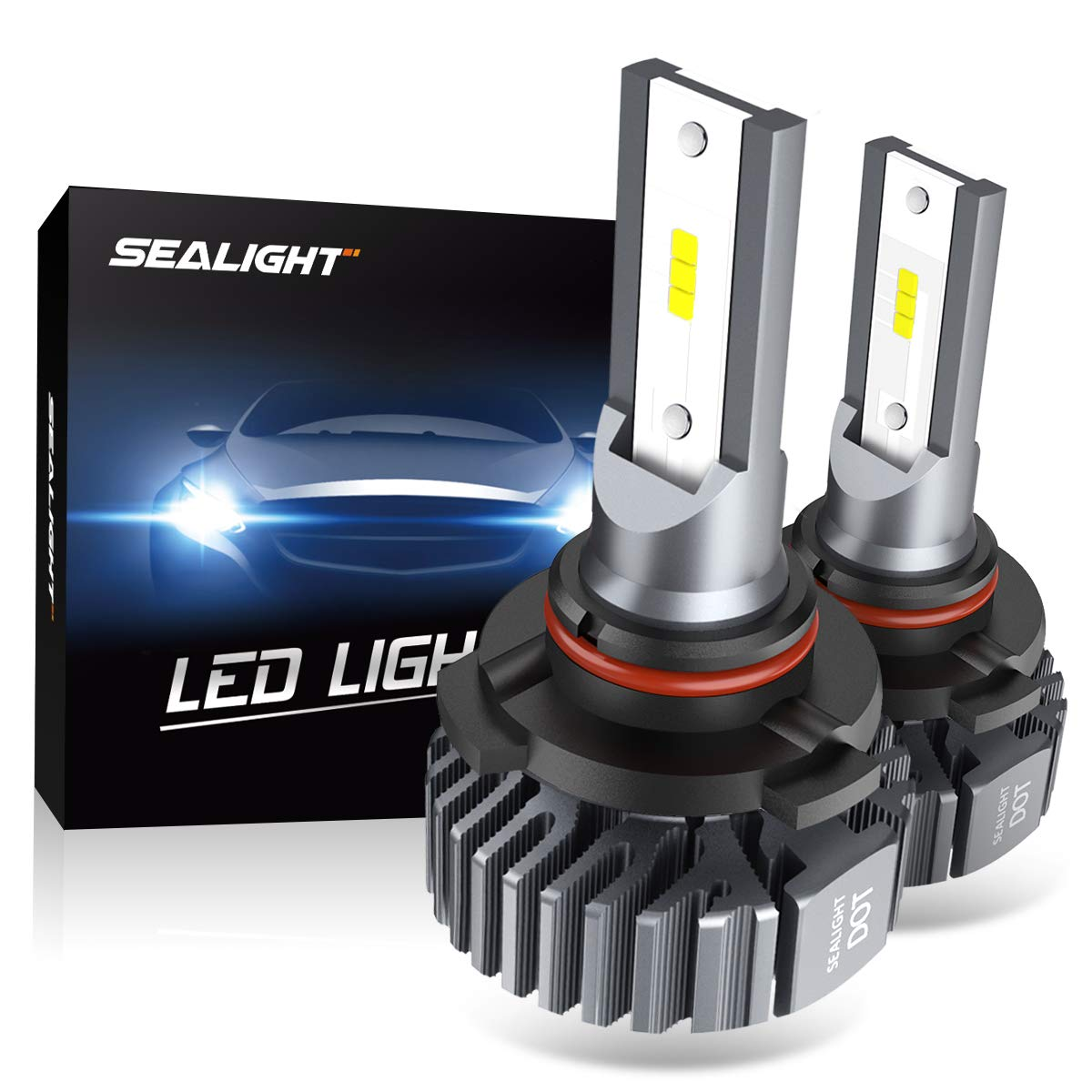 SEALIGHT 9005 HB3 LED Headlight Bulbs Fanless 6000K White High Beam CSP Chips Halogen Headlight Replacement 30W 5000Lumens by SEALIGHT
