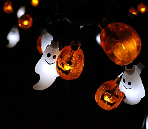 JOYIN Halloween String Light Decoration Battery Powered Ghost and Pumpkin Shaped LED String Light – 19.7 Feet Long, 30 LED, Warm Cool Orange White Color