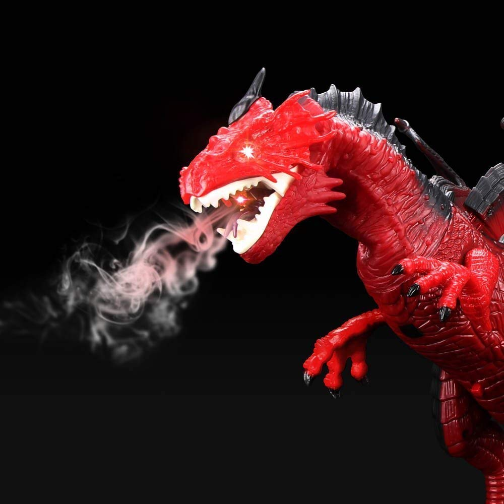 Remote Control Electronic Walking Dinosaur Toy Children RC Animal Toys w/ Simulation Roaring , Spraying Smoke , Shaking Head , Flapping Wings Functions ,Cool for Boys & Girls (Red) by O.B Toys&Gift (Image #2)