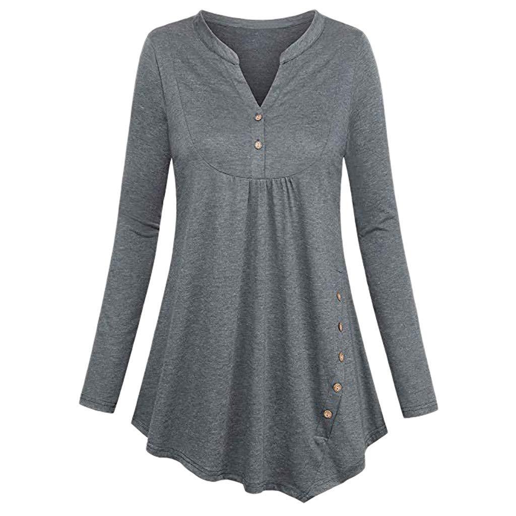 FEDULK Womens Solid Blouse V Neck Button Long Sleeve Pullover Irregular Hem Casual Blouse Shirts