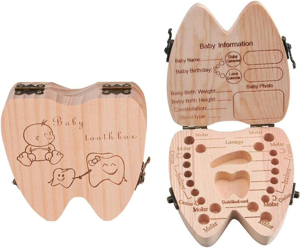 Pawaca Baby Teeth Box Deciduous Tooth Organizer Case,Keepsake Toothed Wooden Storage Boxes Childrens Dental House for Hippo Tooth,Milk Teeth,Haircut,Childwood Memory Save Souvenir Gift for Xmas.