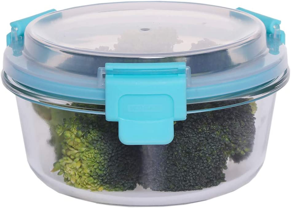 Home Basics 13 oz. Round Leak/Spill Proof Borosilicate Glass Food, Dishwasher Safe Meal Prep Storage Container with Air-Tight Plastic Lid, Turquoise