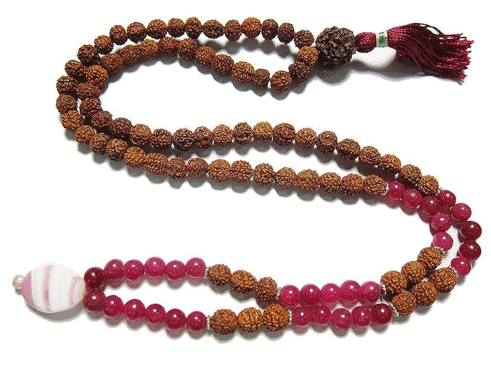 Mogul Fourth Heart Chakra- Pink Jade Bead Necklace Rudraksha ...