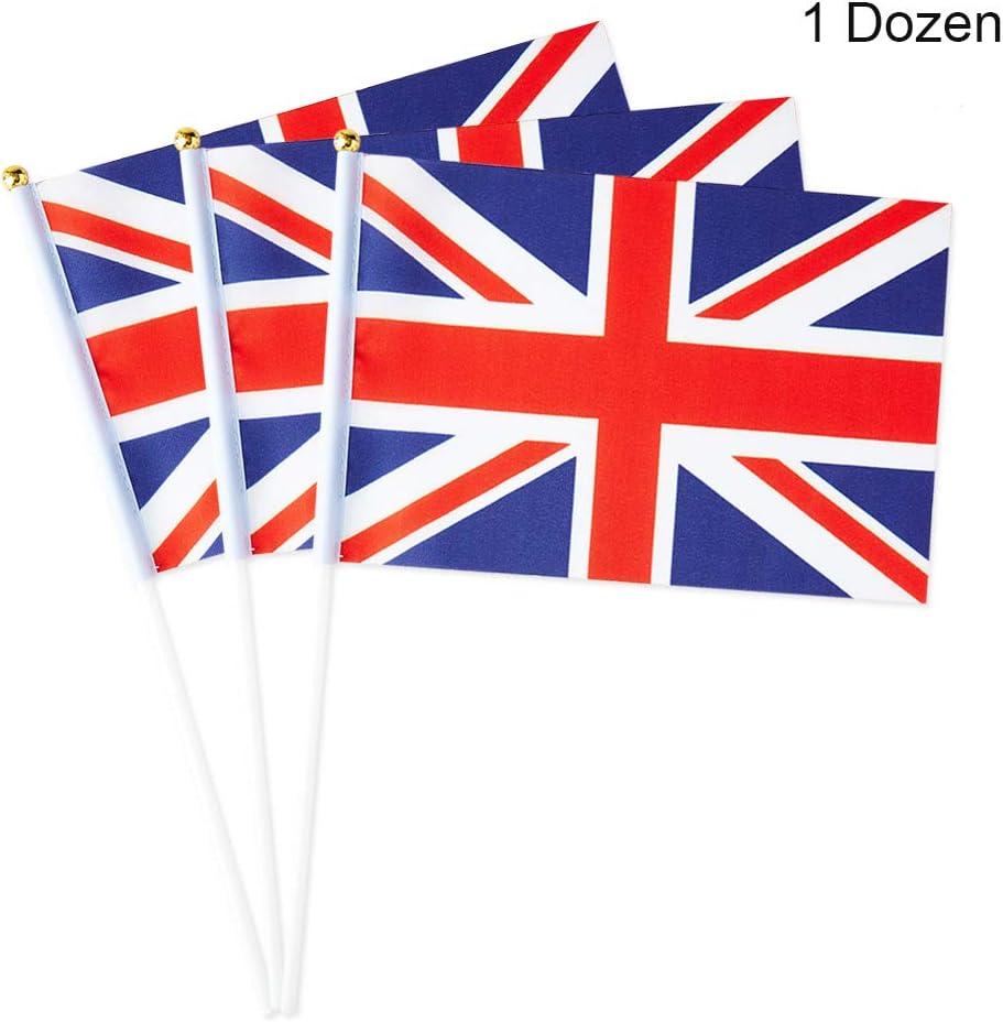 Mflagperft UK Flag United Kingdom Small Stick Mini Hand Held Flags Decorations 1 Dozen (12 Pack)