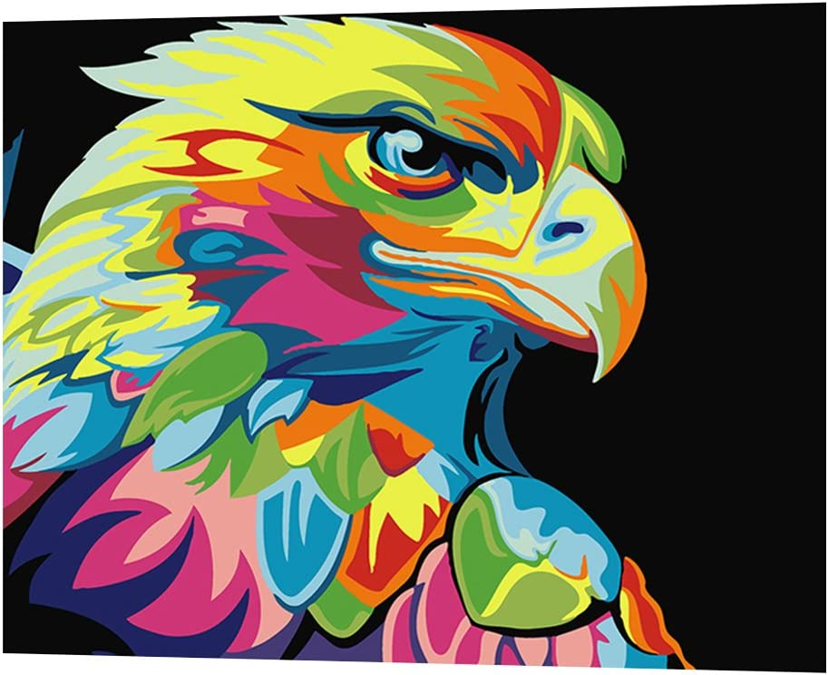 1# Infashionport DIY Animals Oil Painting By Numbers Frameless Paint Canvas Wall Living Room Art