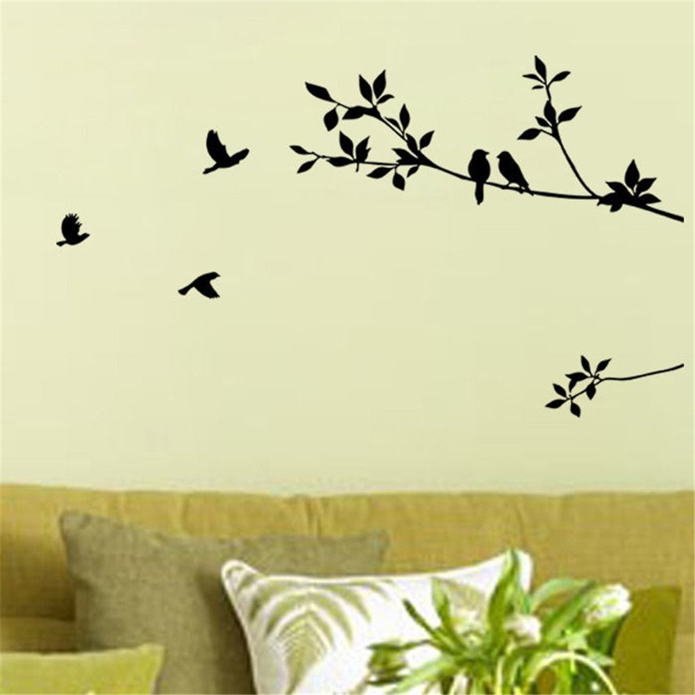Amazon.com: Tree Branches Wall Decal with Birds Vinyl Sticker ...