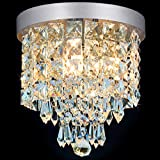SHINE HAI Crystal Chandelier, 3-light Modern Flush Mount Ceiling Pendant Light H9.45″ X W8.66″ for Bedroom, Living Room, Dining Room, Kitchen, Hallway