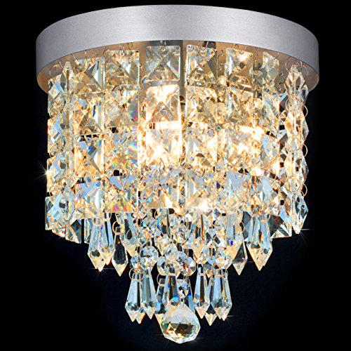 SHINE HAI Crystal Chandelier, 3-light Modern Flush Mount Ceiling Pendant Light H9.45