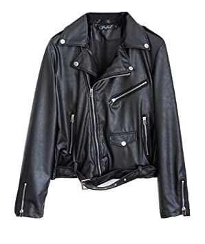 LaoZan Chaqueta para Mujer Chaquetas Imitación PU Cuero Moto Cazadoras Chaqueta con Cremallera Negro 2XL