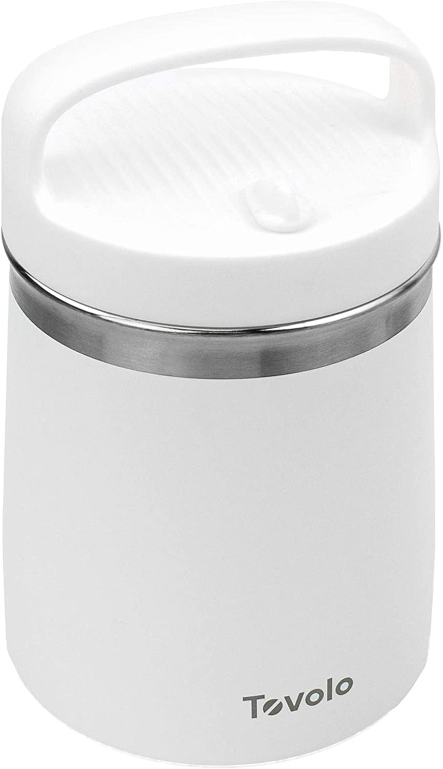 Tovolo 2 Quart Stainless Steel Traveler, Double-Wall Vacuum-Insulated Food Container, 2 Qt. Food Storage & Ice Cream Container, Easy-Carry Handle, Travel Mug for Hot Food & Cold Ice Cream, White