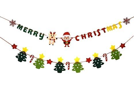 Buon Natale 883.Buon Natale Banner Ghirlande Tessuti Non Tessuti Babbo Natale Alce