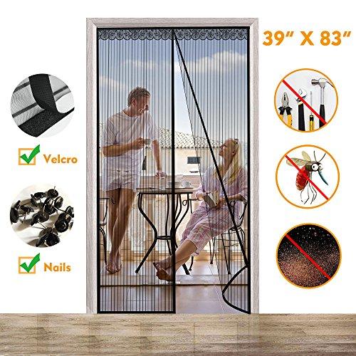 Magnetic Screen Door, Instant Mesh Curtain Screen Door with Full Frame Velcro Anti Bedbug Fly Anti-Mosquito Door Net 39X 83