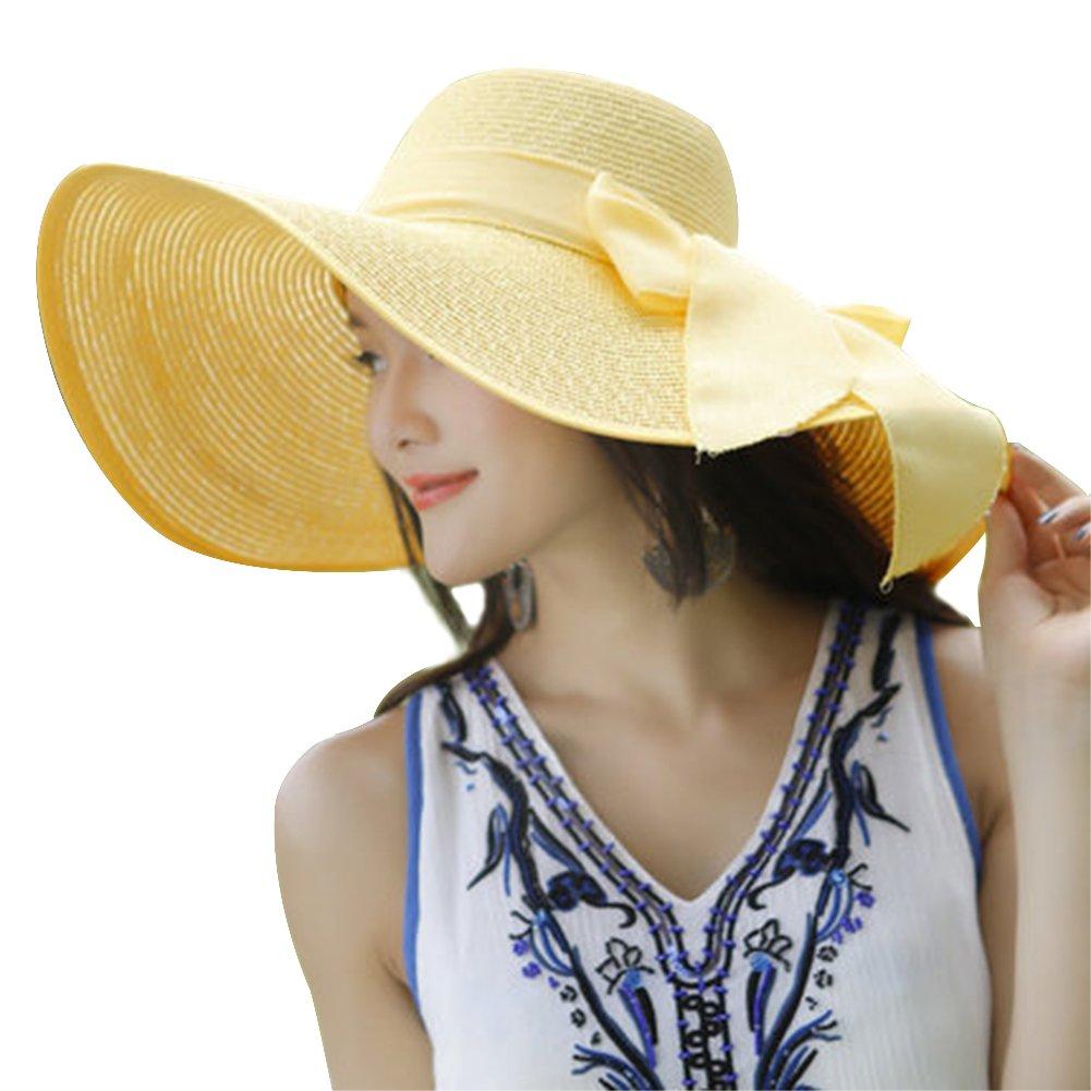 DaoRier Sombrero de Verano para Mujer con Pajita de Lazo para la Playa al Aire Libre Beige 56-58CM