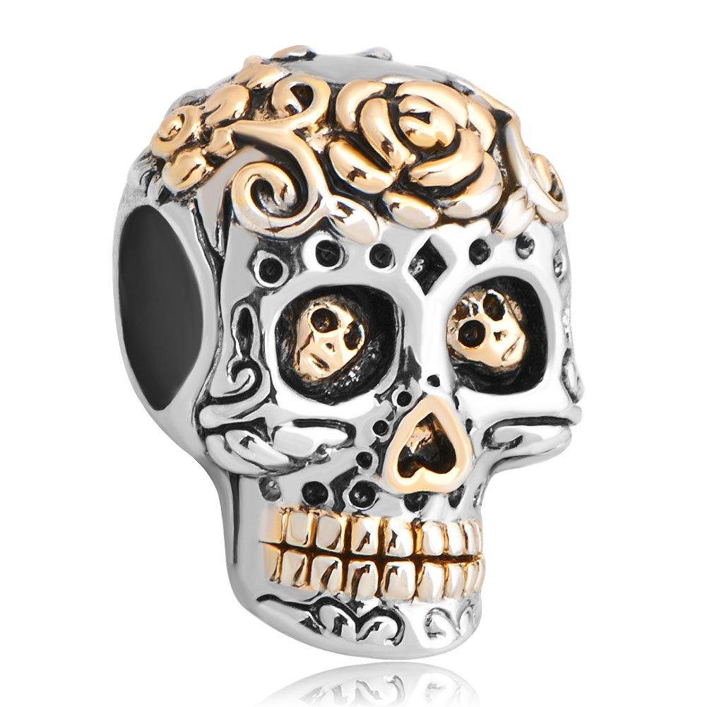 pour bracelet Korliya Breloque en forme de t/ête de mort dans le style de la f/ête mexicaine des morts /'/'Dia de los muertos/'/'
