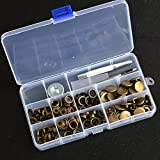 inBox 30 Sets Antique Brass 12.5/15/17mm Snap Fasteners Press Studs Kit Sewing Leather Buttons Poppers with Tools for Clothing coats Jactkets (15)