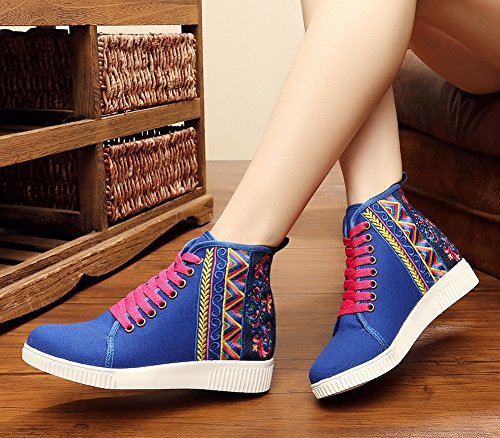 Avacostume Womens Embroidery High-top Casual Scarpe Da Passeggio Stringate Blu