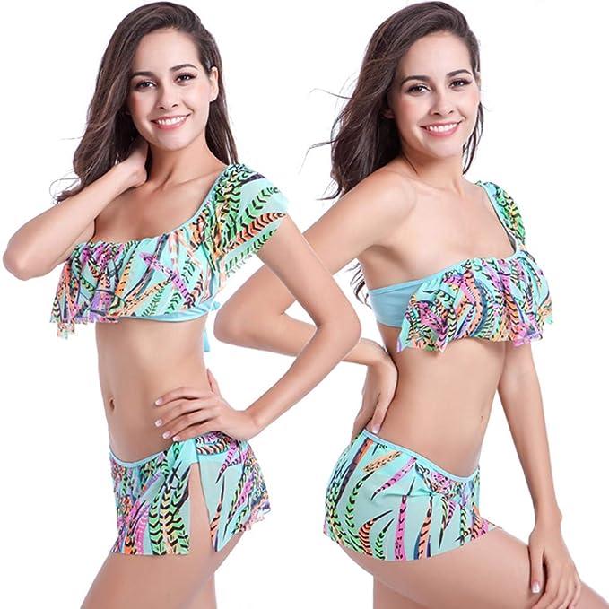 Bikini Traje de Baño con Volantes para,con Volante Mujer,Mujeres Bañador Cintura Bajo Dos Piezas Verano Playa Natación Regalo by S.CHARMA: Amazon.es: Ropa y ...