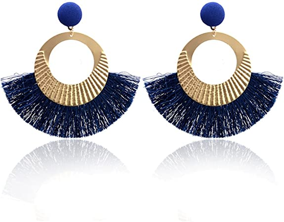 1 Pair Bead Tassel Earrings Ear Stud Fashion Exaggerated New Ladies Drop Pendant