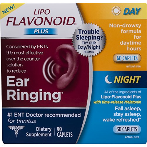 Day Relief Caplets - Lipo-Flavonoid Plus Day and Night Combo Kit Ear Health Supplement | Most Effective Over The Counter Solution to Reduce Ear Ringing | #1 ENT Doctor Recommended for Tinnitus | 90 Count