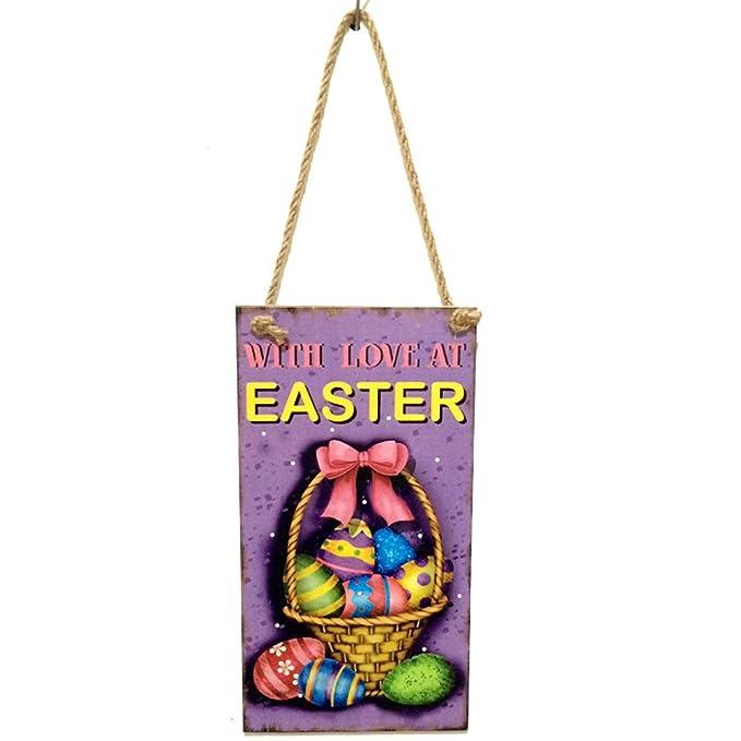 Amazon.com: Wooden Easter Hanging Board Festival Wall Door ...