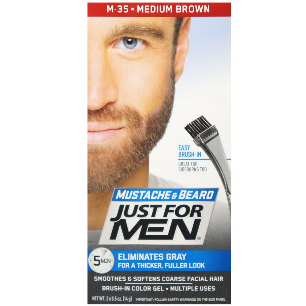 JUST FOR MEN Color Gel Mustache & Beard M-35 Medium Brown 1 ea (Pack of 12)
